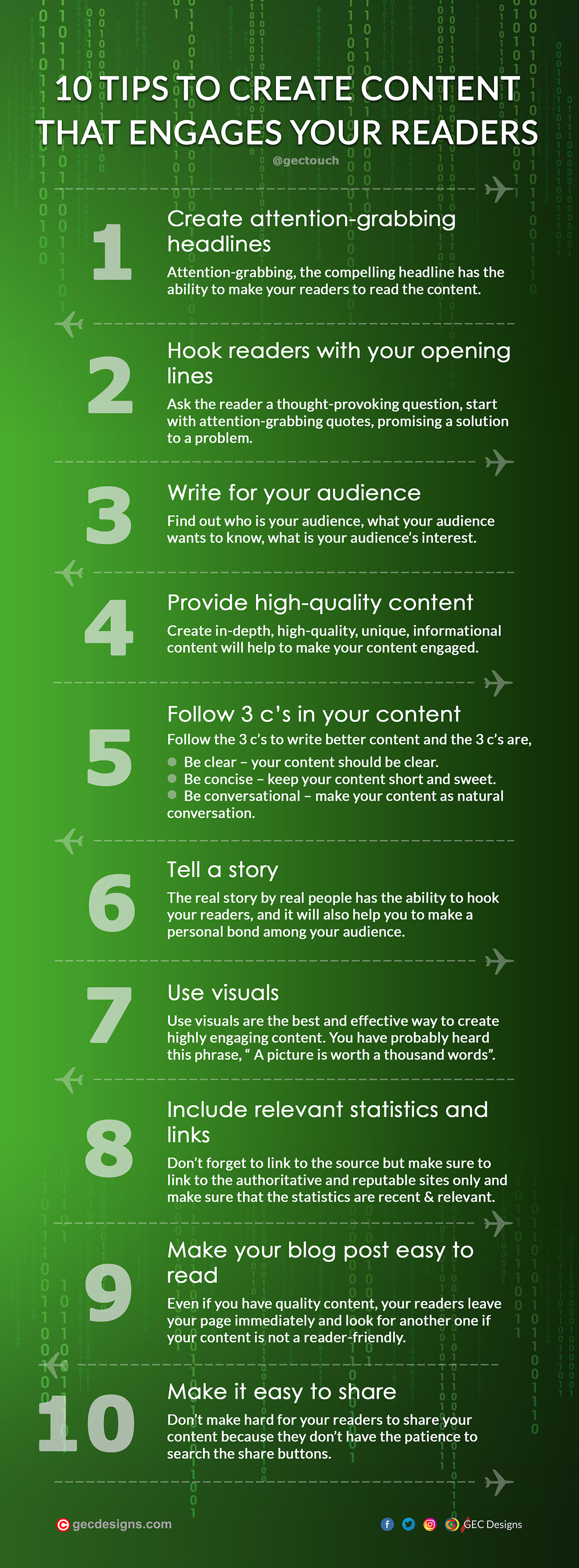 Engaging Content tips Infographic