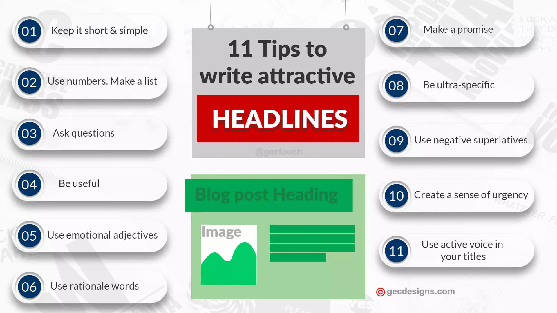 Tips to write attractive headline infographic