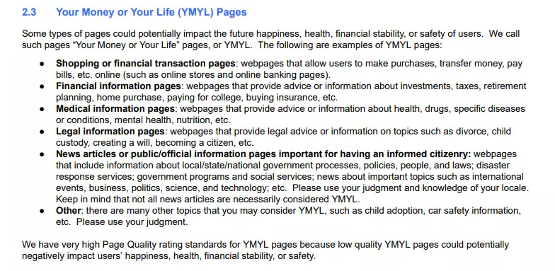 Google Quality Raters Guideline