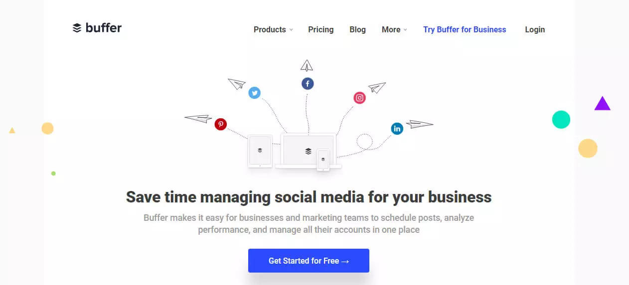 Free social media management tool buffer screenshot