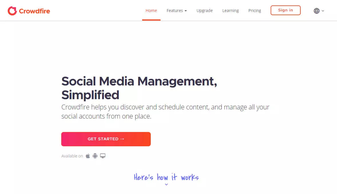 Free social media management tool crowdfire screen shot