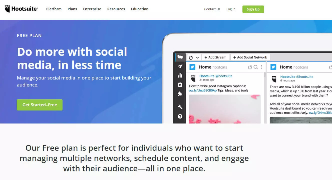 Free social media management tool hootsuite screenshot