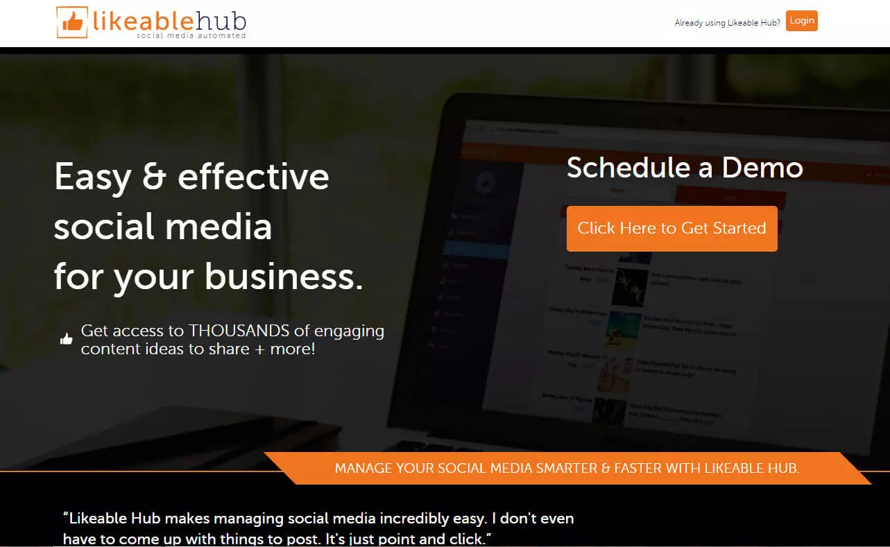 Free social media management tool likeable hub screen shot