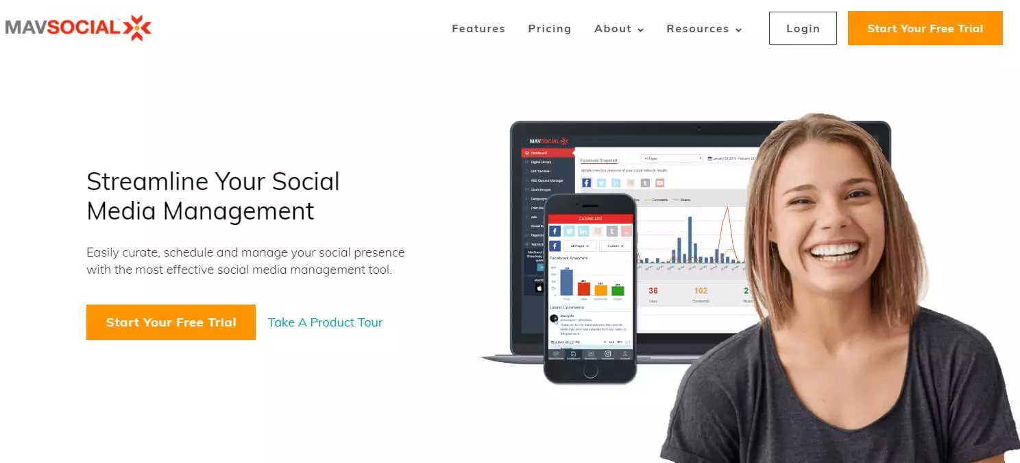 Free social media management tool mavsocial screen shot