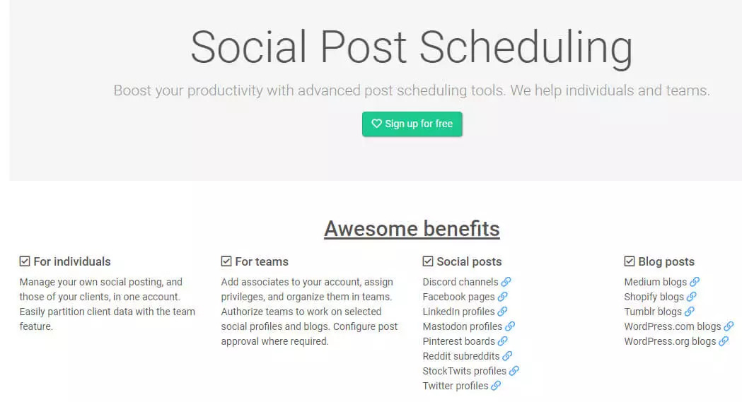 Free social media management tool socialoomph screen shot