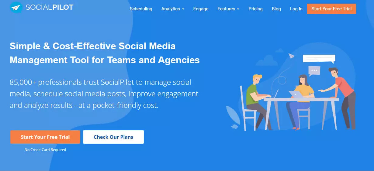 Free social media management tool socialpilot screen shot