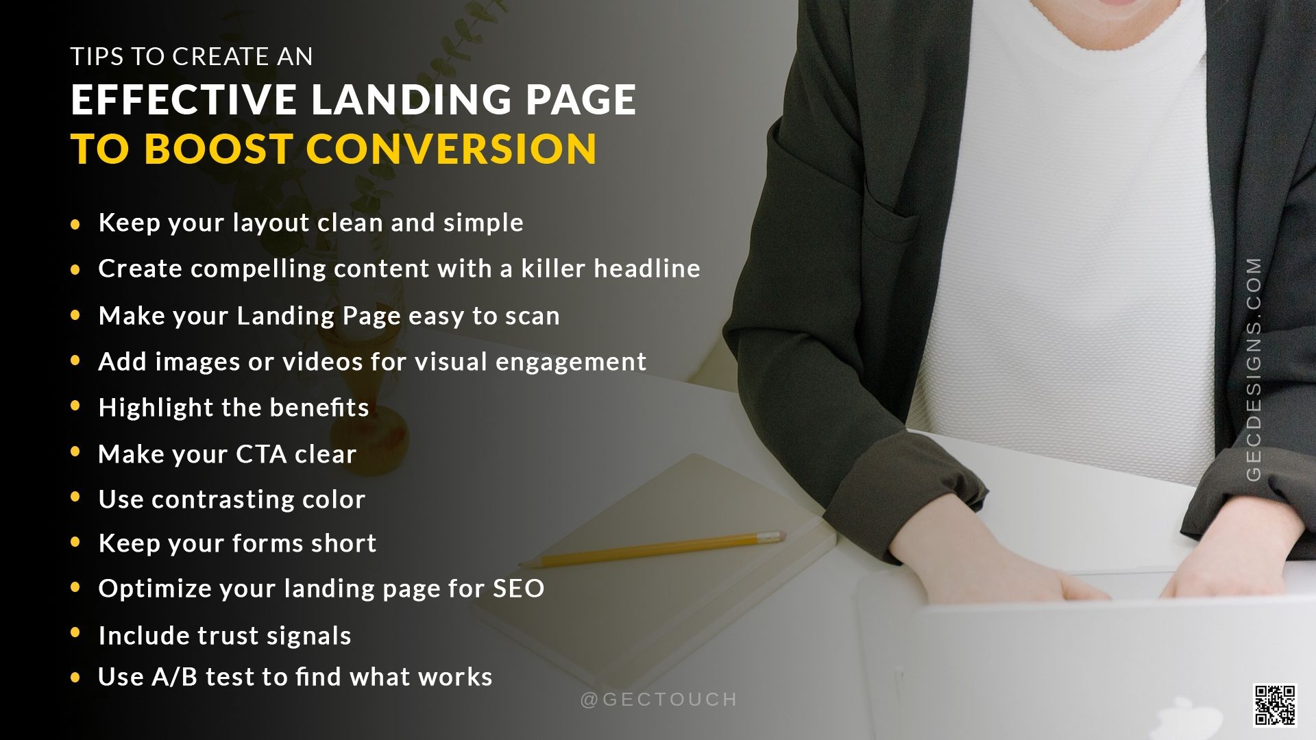 Effective landing page tips infographics