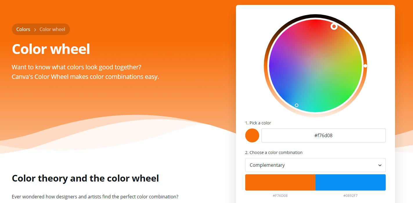 Canva's color wheel